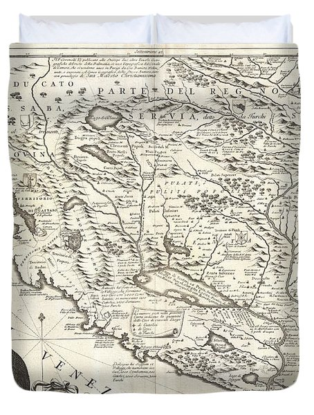 1690 Coronelli Map Of Montenegro Duvet Cover by Paul Fearn