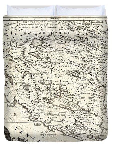1690 Coronelli Map Of Montenegro Duvet Cover