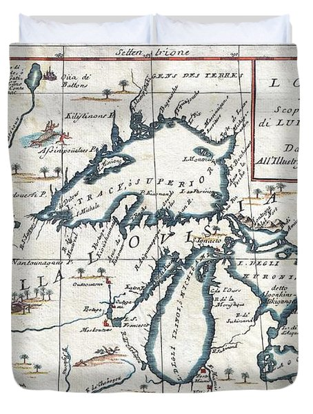 1696 Coronelli Map Of The Great Lakes Duvet Cover by Paul Fearn