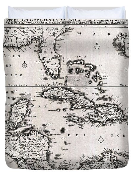 1696 Danckerts Map Of Florida The West Indies And The Caribbean Duvet Cover by Paul Fearn