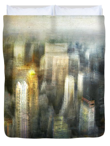 Duvet Cover featuring the photograph Cityscape #36 - Kissing Shadows by Alfredo Gonzalez