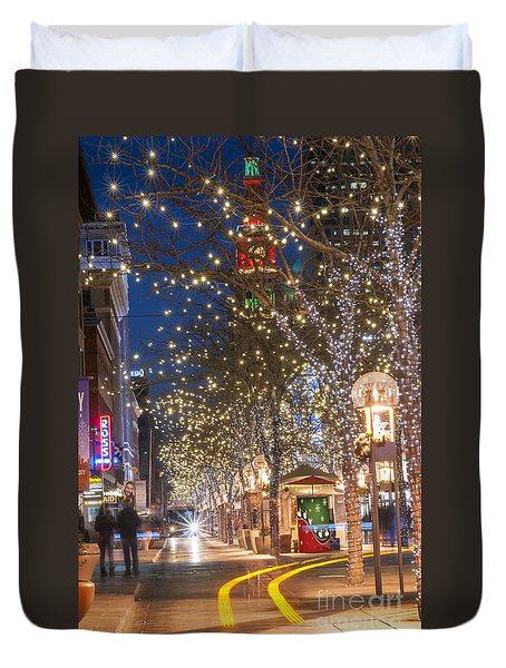 16th Street Mall In Denver Holiday Time Duvet Cover