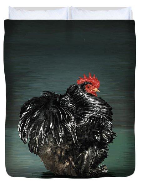 17. Black Frizzle Cochin Bantam Duvet Cover