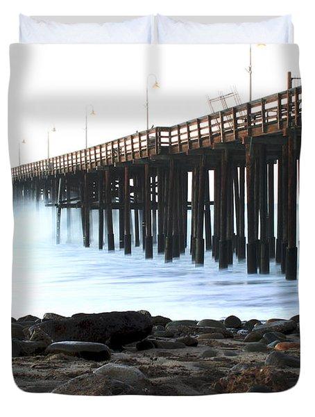 Ocean Wave Storm Pier Duvet Cover by Henrik Lehnerer