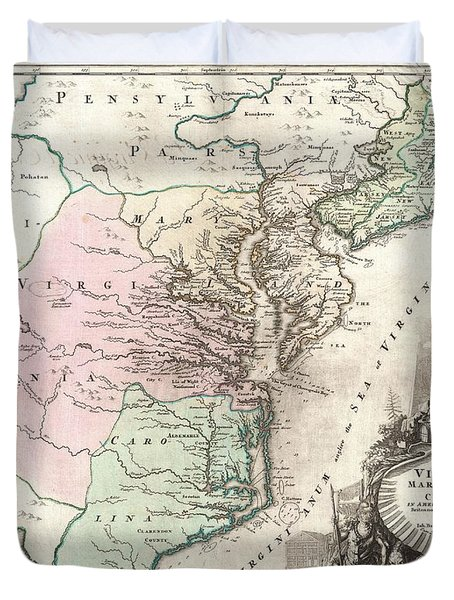1715 Homann Map Of Carolina Virginia Maryland And New Jersey Duvet Cover by Paul Fearn