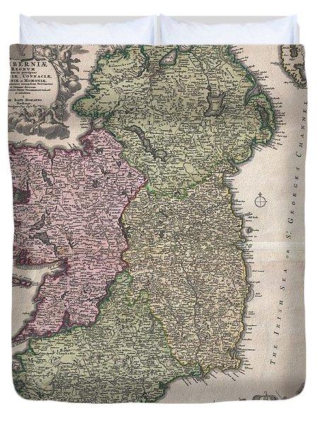 1716 Homann Map Of Ireland Duvet Cover by Paul Fearn