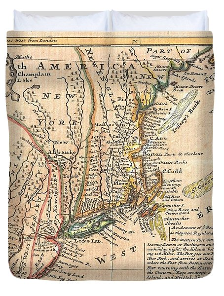 1729 Moll Map Of New York New England And Pennsylvania  Duvet Cover by Paul Fearn