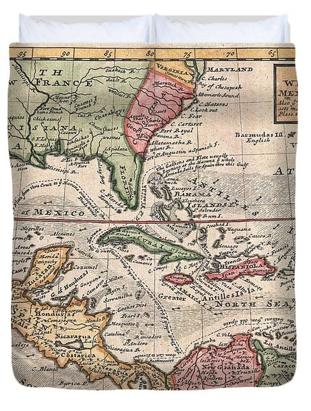 1732 Herman Moll Map Of The West Indies And Caribbean Duvet Cover by Paul Fearn