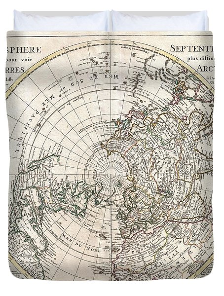 1741 Covens And Mortier Map Of The Northern Hemisphere  North Pole Arctic Duvet Cover by Paul Fearn