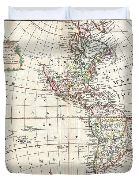 1747 Bowen Map Of North America And South America Duvet Cover by Paul Fearn