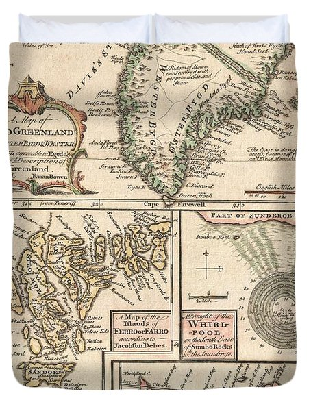 1747 Bowen Map Of The North Atlantic Islands Greenland Iceland Faroe Islands Duvet Cover by Paul Fearn