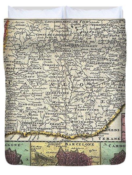 1747 La Feuille Map Of Catalonia Spain Duvet Cover by Paul Fearn