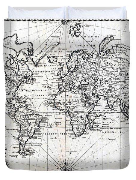 1748 Antique World Map Versuch Von Einer Kurzgefassten Karte  Duvet Cover by Karon Melillo DeVega