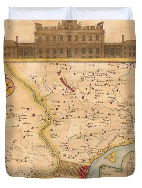 1752  Scull  Heap Map Of Philadelphia And Environs Duvet Cover by Paul Fearn