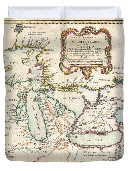1755 Bellin Map Of The Great Lakes Duvet Cover