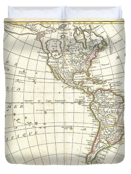 1762 Janvier Map Of North America And South America  Duvet Cover by Paul Fearn