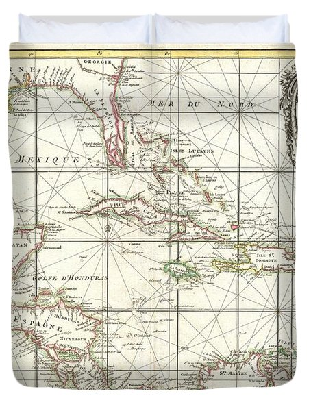 1762 Zannoni Map Of Central America And The West Indies Duvet Cover