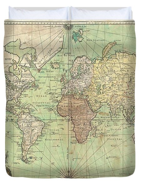 1778 Bellin Nautical Chart Or Map Of The World Duvet Cover