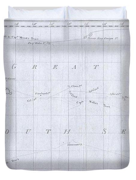 1780 Cook  Hogg Map Of Tahiti  Duvet Cover
