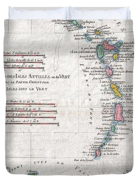 1780 Raynal And Bonne Map Of Antilles Islands Duvet Cover by Paul Fearn