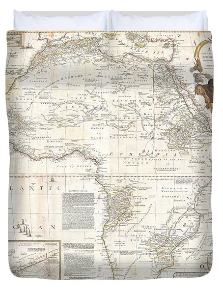 1787 Boulton  Sayer Wall Map Of Africa Duvet Cover by Paul Fearn