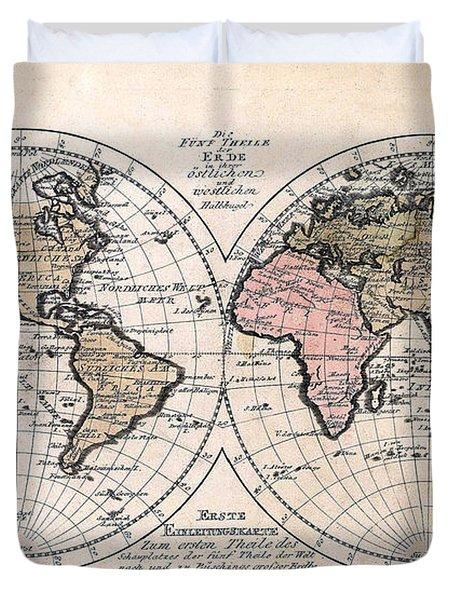 1791 Antique World Map Die Funf Theile Der Erde Duvet Cover by Karon Melillo DeVega