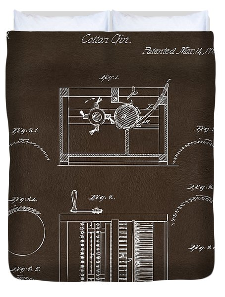 Duvet Cover featuring the drawing 1794 Eli Whitney Cotton Gin Patent Espresso by Nikki Marie Smith