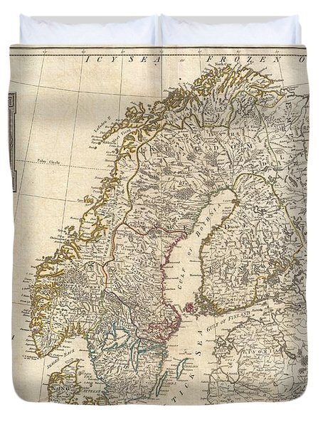 1794 Laurie And Whittle Map Of Norway Sweden Denmark And Finland Duvet Cover by Paul Fearn