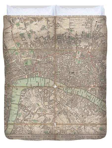 1795 Bowles Pocket Map Of London Duvet Cover by Paul Fearn