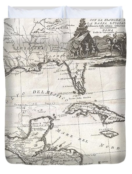 1798 Cassini Map Of Florida Louisiana Cuba And Central America Duvet Cover