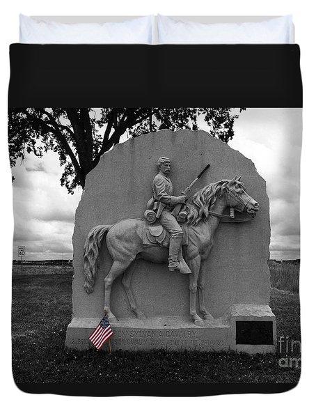 17th Pennsylvania Cavalry Monument Gettysburg Duvet Cover by James Brunker