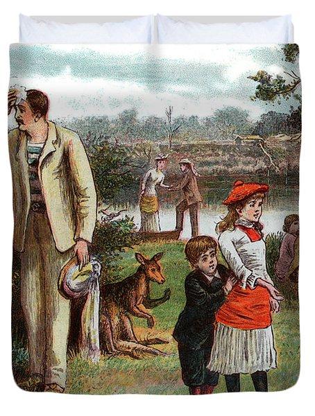 1800s 1880s 1881 Summer Picnic Scene Duvet Cover
