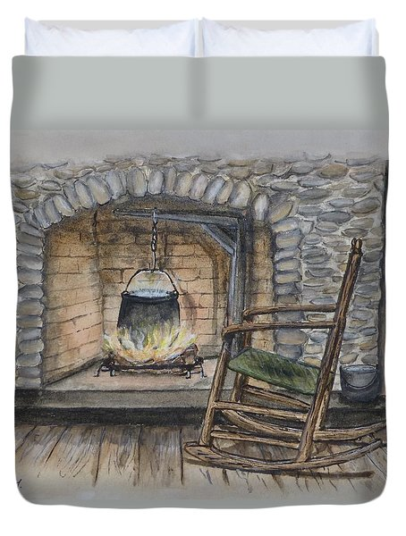 1800s Cozy Cooking .... Fire Place Duvet Cover