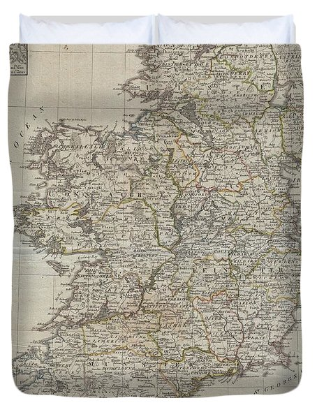 1804 Jeffreys And Kitchin Map Of Ireland Duvet Cover by Paul Fearn