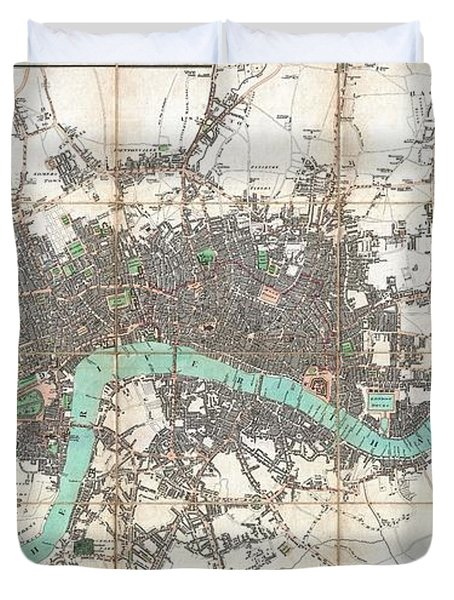 1806 Mogg Pocket Or Case Map Of London Duvet Cover by Paul Fearn