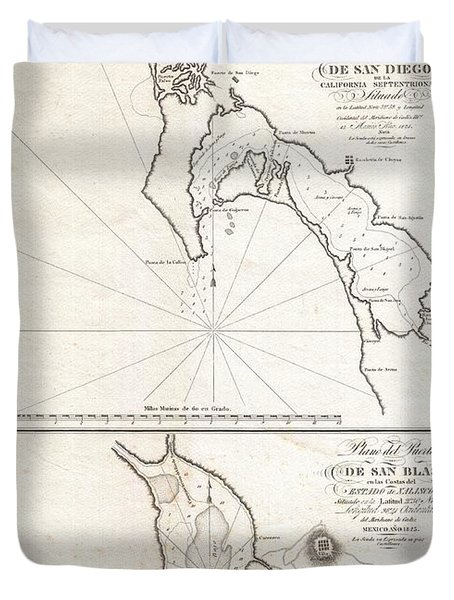 1825 Victoria Map Of San Diego California And San Blas Mexico  Duvet Cover by Paul Fearn