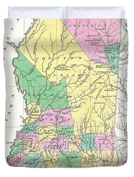 1827 Finley Map Of Mississippi Duvet Cover by Paul Fearn