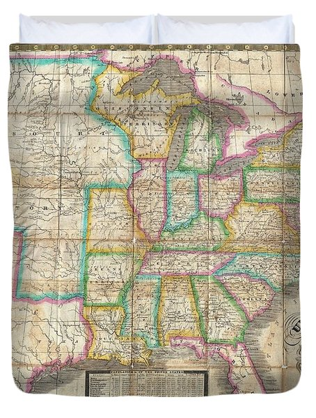 1835 Webster Map Of The United States Duvet Cover by Paul Fearn