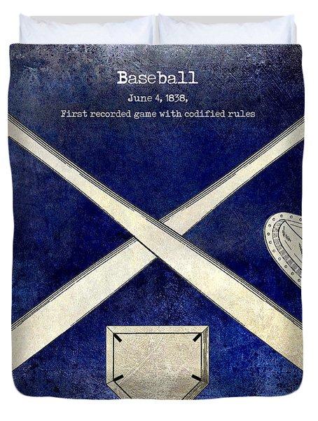 1838 Baseball Drawing 2 Tone Blue Duvet Cover