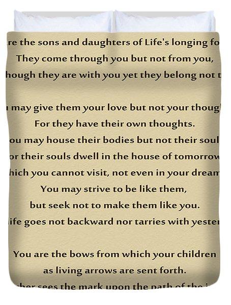 184- Kahlil Gibran - On Children Duvet Cover