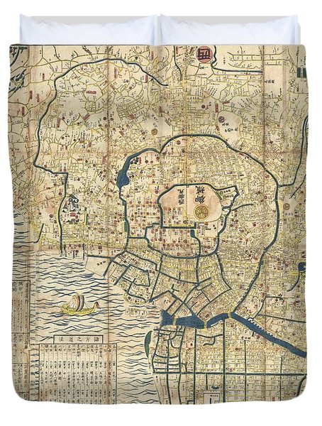 1849 Japanese Map Of Edo Or Tokyo Duvet Cover by Paul Fearn