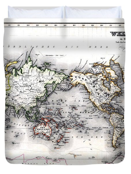 Duvet Cover featuring the photograph 1850 Antique World Map Welt Karte In Mercators Projektion by Karon Melillo DeVega