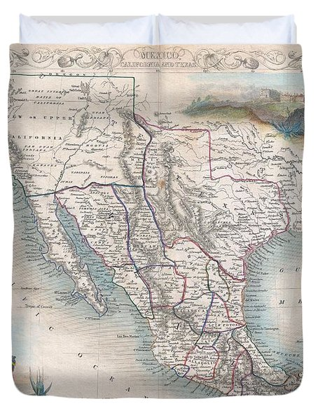 1851 Tallis Map Of Mexico Texas And California  Duvet Cover by Paul Fearn