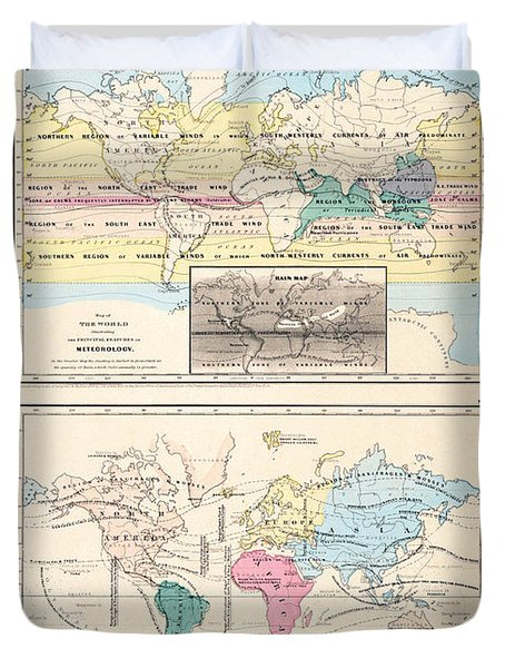 1855 Antique World Maps Illustrating Principal Features Of Meteorology Rain And Principal Plants Duvet Cover by Karon Melillo DeVega