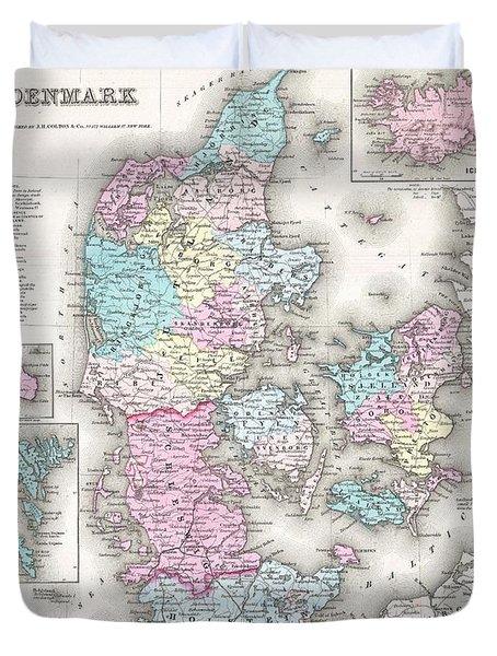 1855 Colton Map Of Denmark Duvet Cover