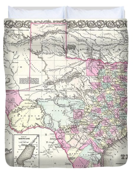 1855 Colton Map Of Texas Duvet Cover by Paul Fearn