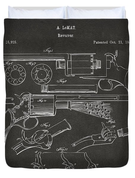 1856 Lemat Revolver Patent Artwork - Gray Duvet Cover