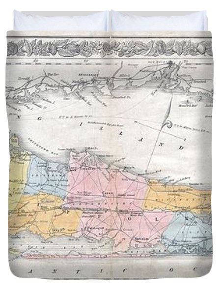 1857 Colton Travellers Map Of Long Island New York Duvet Cover by Paul Fearn