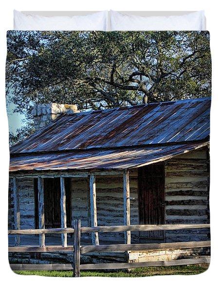 1860 Log Cabins Duvet Cover by Linda Phelps