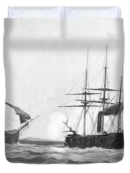 1860s June 19 1864 Css Alabama Sinking Duvet Cover